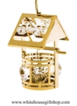 Gold Classic Wishing Well Ornament with Swarovski Crystals