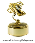 Gold Mini Aeroplane Music Box with Swarovski® Crystals