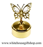 Gold Mini Butterfly Music Box with Swarovski® Crystals