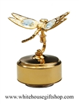 Gold Mini Dragonfly Music Box with Swarovski® Crystals