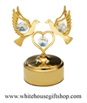 Gold Mini Love Doves Holding A Heart Music Box with Swarovski® Crystals