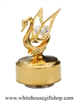 Gold Mini Swan Music Box with Swarovski® Crystals