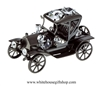 Pewter Metallic Fanciful Henry Ford Model T Car Ornament with Swarovski Crystals