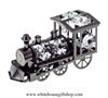 Pewter Metallic Classic Steam Locomotive Ornament with Swarovski Crystals
