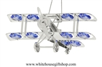 Silver Biplane Ornament with Ocean Blue Swarovski Crystals