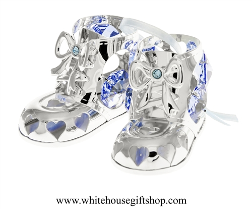 Silver Baby Boy's Holiday Booties Ornament with Light Ocean Blue Swarovski Crystals