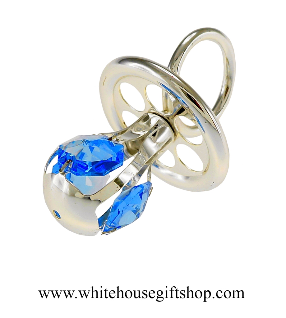 f027d456c Silver Baby Boy's Classic Pacifier Ornament with Ocean Blue Swarovski  Crystals