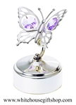 Silver Mini Butterfly Music Box with Swarovski® Crystals