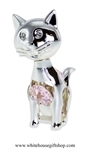 Silver Playful Cartoon Cat Ornament with Light Pink Swarovski Crystals