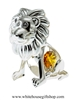 Silver Playful Cartoon Lion Ornament with Amber Swarovski Crystals