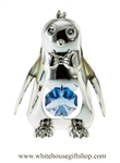 Silver Playful Cartoon Penguin Ornament with Ocean Blue Swarovski Crystals