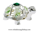 Silver Playful Cartoon Painted Turtle Ornament with Mint Green & Emerald Swarovski Crystals