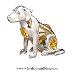 Silver Dog Ornament with Golden Yellow Swarovski Crystals