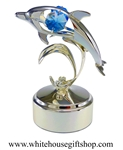 Silver Playful Dolphin With Waves Music Box with Ocean Blue Swarovski® Crystals