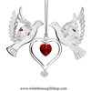 Silver Doves Holding a Heart Ornament with Rose Red Swarovski Crystals