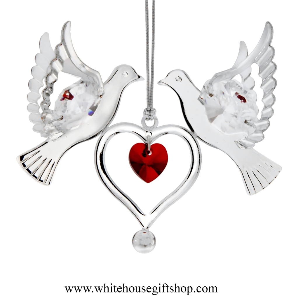 White dove ornament - Silver Doves Holding A Heart Ornament With Rose Red Swarovski Crystals