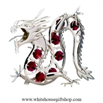 Silver Chinese Dragon Table Top Display with Ruby Red Swarovski Crystals