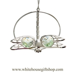 Silver Dragonfly Circle Ornament with Mint Green Swarovski Crystals
