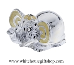 Silver & Enamel Miniature Elephant Table Top Display with Swarovski Crystals