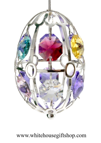 Silver Easter Egg with Swarovski® Crystals from the White House Gift Shop