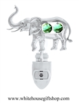 Silver Elephant with Raised Trunk Nightlight with Swarovski® Crystals