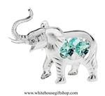 Silver Elephant with Raised Trunk Ornament with Turquoise Swarovski Crystals