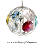 Silver Filigree Ball Ornament with Rose, Mint Green, Pink, Golden Yellow, Clear & Sky Blue Swarovski Crystals