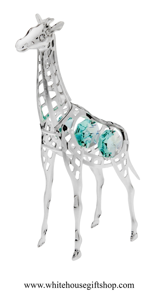 96f387e5a Silver Young Giraffe Ornament with Turquoise Swarovski Crystals