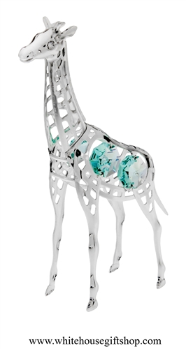 Silver Young Giraffe Ornament with Turquoise Swarovski Crystals