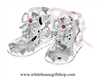 Silver Baby Girl's Holiday Booties Ornament with Light Rose Pink Swarovski Crystals