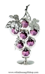Silver Bunch of Grapes Table Top Display with Amethyst Swarovski Crystals