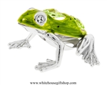 Silver & Green Textured Northern Green Frog Ornament