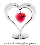 Silver Heart Table Top Display with Ruby Red Swarovski® Crystals