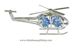 Silver Fanciful Marine One Ornament with Medium Blue Swarovski Crystals