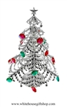 Silver Large Christmas Table Top Display with Ruby Red & Emerald Green Swarovski Crystals & Bells