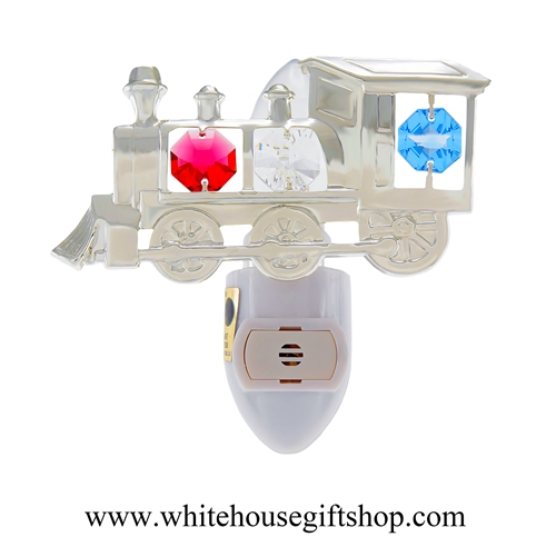 Silver Classic Steam Locomotive Nightlight with Swarovski® Crystals