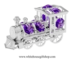 Silver Classic Steam Locomotive Ornament with Violet Swarovski Crystals