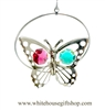 Silver Mini Butterfly Circle Ornament with Rose and Turquoise Swarovski Crystals