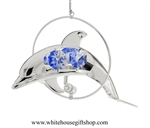 Silver Mini Dolphin Circle Ornament with Ocean Blue Swarovski Crystals