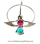 Silver Mini Hummingbird Circle Ornament with Rose and Turquoise Swarovski Crystals