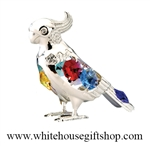 Silver Colored Parrot Ornament or Desk Model with Swarovski® Crystals