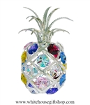 Silver Colorful Tropical Pineapple Ornament with Aquamarine, Rose, Golden Yellow, Clear, Light Pink, Medium Blue, & Violet Swarovski Crystals