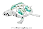 Silver Painted Turtle Ornament with Turquoise Swarovski Crystals