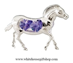 Silver Zebra Ornament with Royal Purple Swarovski Crystals
