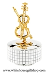 Gold Violin Music Box with Swarovski® Crystals