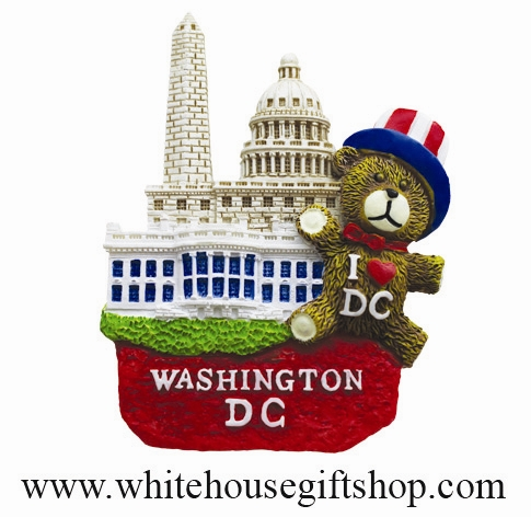 Magnet, Ceramic, White House, Washington Monument, U.S. Capitol, Washington D.C., I Love DC Bear, Close Out Sale