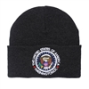 Charcoal Knit Beanie Hat with Seal of the President