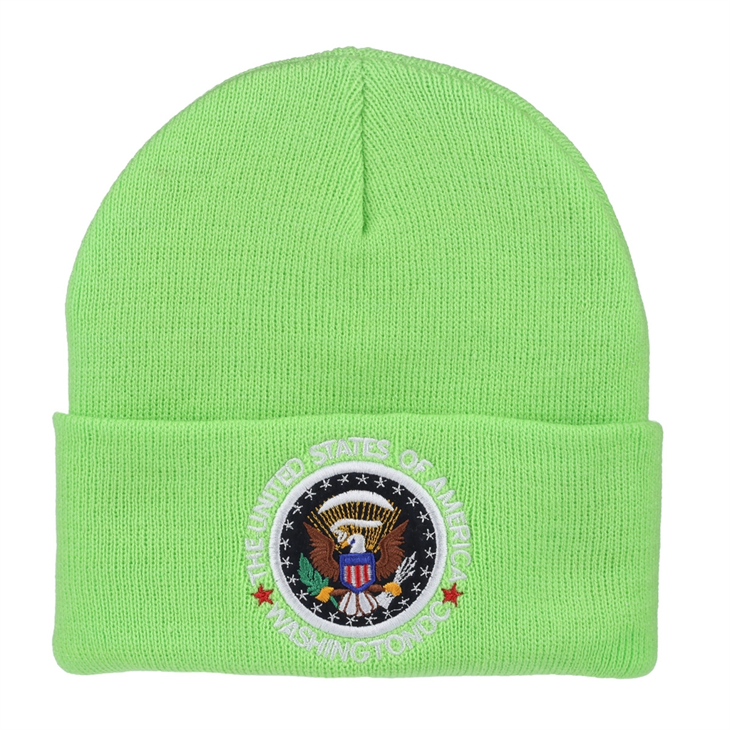 2061fb889966c Green Beanie Hat with Seal of the President