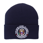 Navy Blue Kniit Beanie Hat with Seal of the President