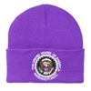 Purple Knit Beanie Hat with Seal of the President